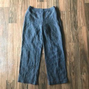 Navy Mini-Check Linen Pants